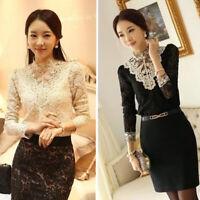 Women Fashion Elegant Splicing Rhinestone Inlaid Long Sleeve Lace Shirt Surprise