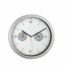 Mebus 52827 Funk-Wanduhr Wanduhr Funkuhr Uhr Thermometer Hygrometer silber