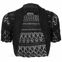 New Womens Plus Size Crochet Knitted Short Sleeve Ladies Open Cardigan Top8 to30