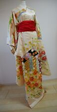 Kimono Dress Japan Furisode Geisha costume Vintage Japanese S/F  sh10