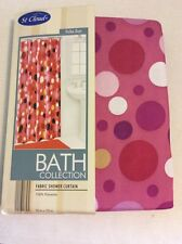 Bright Pink Polka Dot Circles Purple Gold White Red Fabric Shower Curtain New