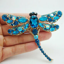 Elegant Dragonfly Bird Brooch Pin Blue Crystal Rhinestone Animal Party Jewelry