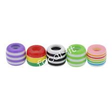 10x Resin Striped Colored Hair Braid Dreadlock Hole Beads DIY Accessories Decor