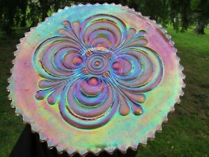 Imperial SCROLL EMBOSSED ANTIQUE CARNIVAL GLASS PLATE~RADIUM MARIGOLD~GORGEOUS!