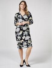 Joe Browns Size UK 8 Fixed Wrap Jersey 3/4 Sleeve Dress Black Multi Zip Fasten