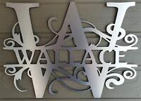 Brushed Metal or White Monogram House Sign, Wreath, Door Hanger, Letter
