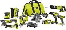 Cordless Power Tool Combo Kit 10 Tools Drill Impact Driver Circular Saw 18V ONE+