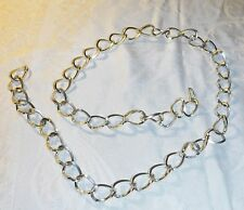 VINTAGE 60S PALE GOLD CHUNKY NECKLACE OR BELT OPEN HOOK LIGHT ALLOY GOGO DISCO