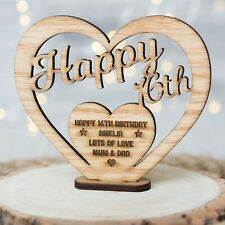 Personalised Wooden Birthday Name Gift Freestanding Heart for 16th 30th 40th Oak