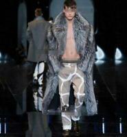 Mens Silver Faux Fur Jacket Parka Luxury Parka Warm Full Length Coat Plus SIZE