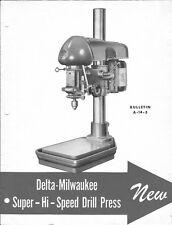 Delta Rockwell 14 Inch Super Hi-Speed Drill Press Bulletin A-14-3 Instructions