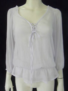 PRIVVY Womens 3/4 sleeve White sheer top size 10
