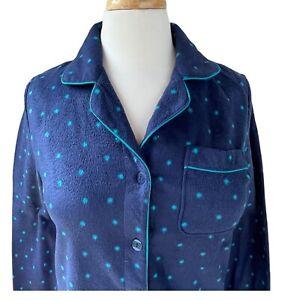 Gilligan & O'Malley Sz Medium Pajama Set Blue Fleece Polka Dot Long Pants & Top