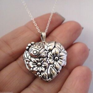 Ladybug Flower Locket Necklace - 925 Sterling Silver - Heart Photo Keepsake NEW