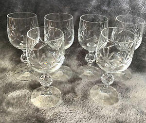 Stunning Vintage Set Of 6 Lead Cut Crystal Sherry Wine Liquer Glasses