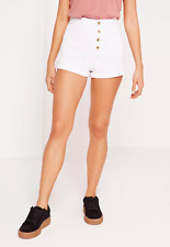 Missguided button front high waisted denim shorts white (M53/5)