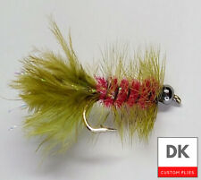 Bead Head Wooly Bugger - 3 Flies - Red/Olive - Sz 8,10,12 - Fly Fishing