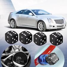 4pcs Aluminum Dice Style Car Tire Tyre Wheel Valve Stem Caps Dust Covers Black