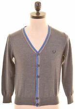 FRED PERRY Mens Cardigan Sweater Medium Grey Wool Slim Fit  CH19