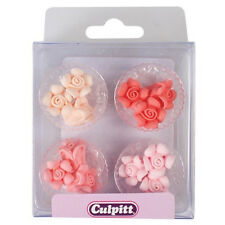 Culpitt 12 pcs Pastel Mini Roses Edible Cupcake Cake Sugar Decorations Toppers