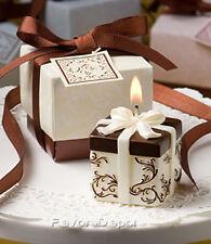 100 Brown Ivory Damask Gift Box  Candle wedding favors Bridal Shower  Favor