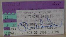 AUTOGRAPHED MLB GAME TICKET STUB 1998 >> RAUL MONDESI>> LOS ANGELES DODGERS