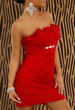 SeXy MiSS Bandeau Mini Kleid Glamour Ketten Applikation Rüschen 34/36/38 NEU rot