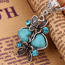 Charming Tibet Silver Necklace Butterfly Design Pendant Turquoise Heart Crystal