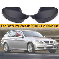 Pair Matte Black Side Mirror Cover Cap For BMW E90 E91 330i 335i 2005-2008