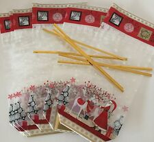 Pack of 6 CHRISTMAS cellophane treat bags with card bottom XMAS  festive  SANTA