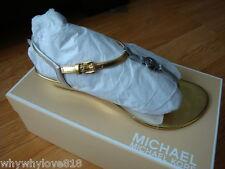 NIB NEW Women Michael Kors Nora Wedge Sandals Metallic Leather SILVER/GOLD 8.5