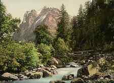 Berner Oberland. Schwarze Lütschine mit Wetterhorn.  PZ vintage photochromie, ph