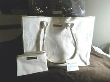 RALPH LAUREN CANVAS SIGNATURE TOTE BAG  WITH CARRY ALL SMALL BAG TAN AND GOLD