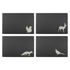 Woodland Animals Slate Placemat Coaster Set Fox Deer Squirrel Shabby Chic Gift