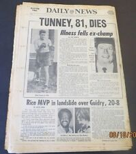 11/08/1978 - NY NEWSPAPER - FORMER HEAVYWEIGHT BOXER, GENE TUNNEY, DIES AT 81