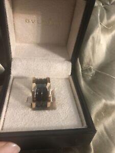 Bvlgari B Zero rose gold color black Ceramic Ring Size 6 52
