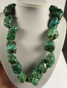 TIBETAN LARGE BEAD REAL TURQUOISE NUGGET NECKLACE 100 - 400 years old.