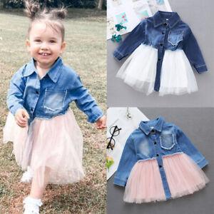 Baby Girls Denim Long Sleeve Shirts Tops+Tulle Tutu Dress Kids Princess Clothes