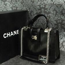 4b1f891aafa0 Rise-on CHANEL Boy Enamel Patent Black 2 Way Chain Shoulder bag  2003