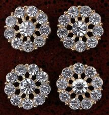 slightly more than 1/2 inch Clear Alloy Rhinestone Flatback Buttons set of 2