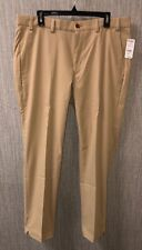 Brooks Brothers Mens Beige Plain Front Casual Polyester Pants 36 X 30 NEW $128