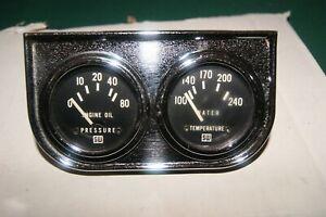 """NOS Stewart Warner vintage gauges 2 1/16"""" electric 12 Volt oil pressure & temp"""