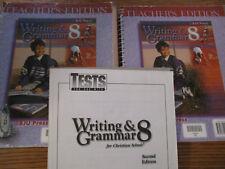 BJU Writing & Grammar 8 TE/tests