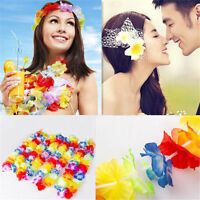 10 pcs Hawaiian Beach Luau Party Flower Garland Lei Leis Necklace Colorful Deco