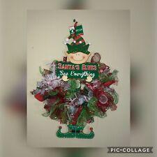 NWT 21x18 Santas Elves See Everything Christmas Wreath