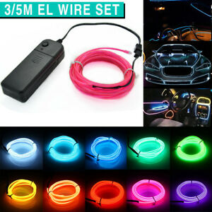 3M/5M EL Wire LED Light Glow Neon Strip Flash Rope Tube Car Dance Party Lights