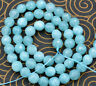 Natural-6mm-Faceted-Blue-Aquamarine-Round-Gemstone-Loose-Beads-15'' AAA