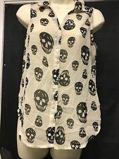 Fun & Flirt Skull Sleeveless Blouse Size M Kg Ws6