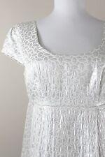 Michael Kors Silver Metallic White Dress Empire Waist Sheath Swing 4 Small S