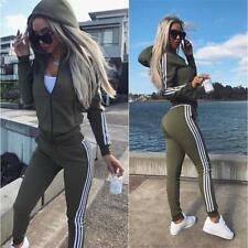 New 2Pcs Set Womens Stripe Tracksuit Hooded Sweatshirt Pants Loungewear Zip Suit